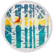 Spring Cardinal With Birch Trees Round Beach Towel