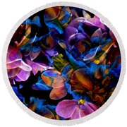 Round Beach Towel featuring the painting Spring Fantasy by Hanne Lore Koehler
