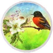 Spring Flower And Oriole Round Beach Towel