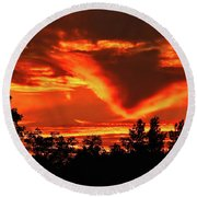 Springport, Michigan Sunset 4289 Round Beach Towel