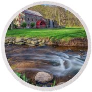 Springtime At The Grist Mill Round Beach Towel