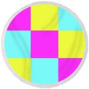 Round Beach Towel featuring the photograph Squares Of Cyan And Yellow And Magenta by Bill Swartwout Fine Art Photography
