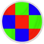 Round Beach Towel featuring the digital art Squares Of Red And Blue And Green by Bill Swartwout Fine Art Photography