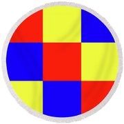 Round Beach Towel featuring the digital art Squares Of Red And Yellow And Blue by Bill Swartwout Fine Art Photography