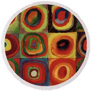 Squares With Concentric Circles 1913  Round Beach Towel
