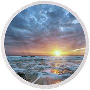 St. Augusting Sunrise  Round Beach Towel
