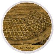St Cloud Minnesota Vintage City Street Map 1869 Round Beach Towel