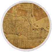 St Croix Vintage Map 1754 Round Beach Towel