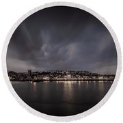 St Ives Cornwall - Dramatic Sky Round Beach Towel