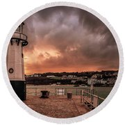 St Ives Cornwall - Lighthouse Sunset Round Beach Towel