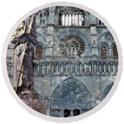 St Joan Of Arc Watch Over Notre Dame Round Beach Towel