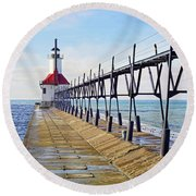 St. Joe Michigan Catwalk Round Beach Towel