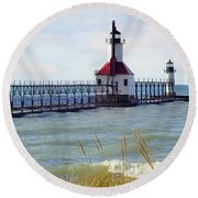 St. Joe Michigan Lighthouse Round Beach Towel
