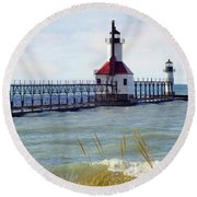 St. Joe Michigan Lighthouse Round Beach Towel