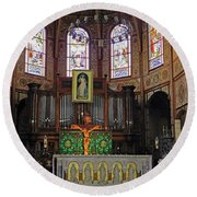 Round Beach Towel featuring the photograph St Louis Cathedral Interior by Tony Murtagh