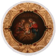 St. Louis Cathedral Nativity Scene Round Beach Towel
