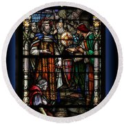 St. Louis Cathedral Stained Glass Window Round Beach Towel