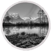 St. Mary Driftwood Pond Reflections Black And White Round Beach Towel