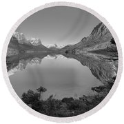 St. Mary Sunrise Through The Trees Black And White Round Beach Towel