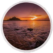 St Michael's Mount - January Sunset Round Beach Towel
