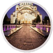 St. Sava Temple In Belgrade Nightscape Round Beach Towel