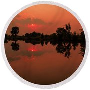 St. Vrain Sunset Round Beach Towel