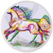 Crayon Bright Horses Round Beach Towel