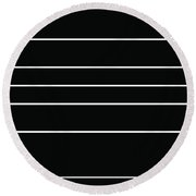 Stacked - Black And White Round Beach Towel