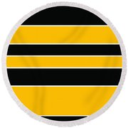 Stacked - Black And Yellow Round Beach Towel