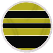 Stacked - Gold, Black And White Round Beach Towel