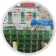 Stacked Lobster Traps Round Beach Towel