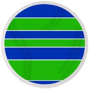 Stacked - Navy, White, And Lime Green Round Beach Towel