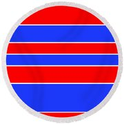 Stacked - Red, White And Blue Round Beach Towel