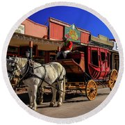Stagecoach, Tombstone Round Beach Towel