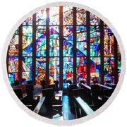Stained Glass Historical Our Lady Of Czestechowa Shrine Round Beach Towel