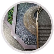 Stairs And Fountain  Round Beach Towel