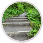 Stairs To The Woods Round Beach Towel