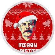 Stalin Merry Christmas Russian Letters Round Beach Towel