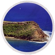 Round Beach Towel featuring the photograph Standfast Point by Tony Murtagh