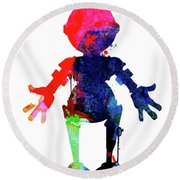 Star Droid Watercolor 4 Round Beach Towel