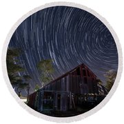 Star Trails Over Bonetti Ranch Round Beach Towel