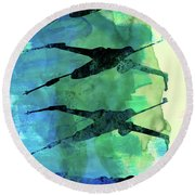Star Warrior X-wing Watercolor 1 Round Beach Towel