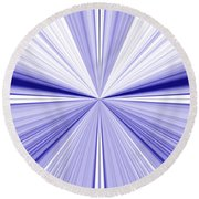 Starburst Light Beams In Blue And White Abstract Design - Plb455 Round Beach Towel
