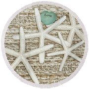 Starfish Love Round Beach Towel