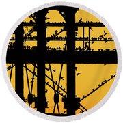 Starlings At Golden Hour On Aberystwyth Pier Round Beach Towel