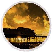 Starlings Ataberystwyth Pier At Sunset Round Beach Towel