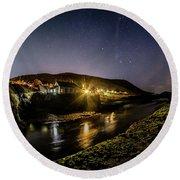 Starry Night In Aberystwyth Round Beach Towel
