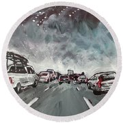 Starry Night Traffic Round Beach Towel