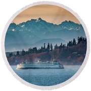 State Ferry And The Olympics Round Beach Towel