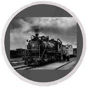 Steam Locomotive In Black And White 1 Round Beach Towel